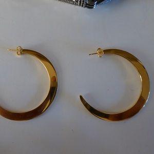 Pierced Earrings Moon Curve Big Statement Gold Ton